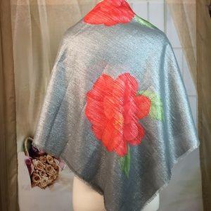 Accessories - Silver Floral Square Scarf